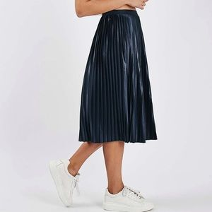Navy Topshop Pleated Midi Skirt